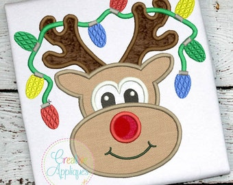 Reindeer with Lights Applique Digital Machine Embroidery Design 4 Sizes, rudolph applique, reindeer applique, rudolph red nosed reindeer