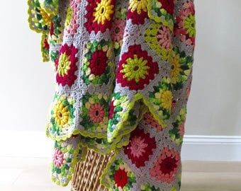 Vintage Afghan Crochet Throw - Granny Squares - Gray Red Pink Yellow Green - Handmade