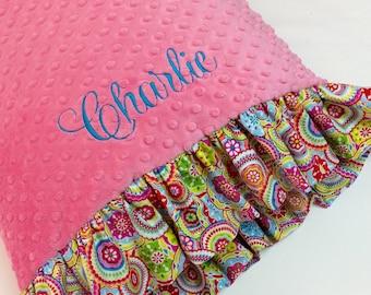 Minky Dot Pillowcase Pink with Multi Colored Print Ruffle