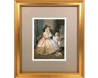 """Victorian Woman with Children & Puppy """"Standard Trimmings"""", Large Framed Vintage Print of Mother, Baby and Girl , 15""""H by 13""""W"""