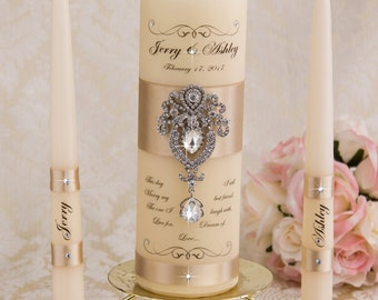 Unity Candle Set, Wedding Unity Candle Set Personalized Ceremony Crystal Unity Candles Set, Crystal Wedding Candle Set, Pillar Candle
