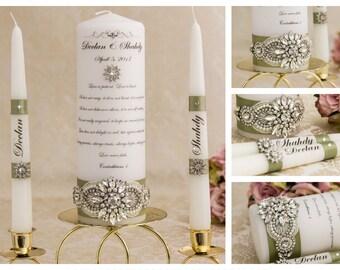 Unity Candle Set, Personalized Unity Candle, Wedding Candles, Wedding Unity Candle Set, Crystal Candles