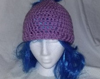 Light Orchid Messy Bun Hat, Crochet Bun Hat, Ponytail Hat, Women's Hat, Womens Fashion, Messy Hair Beanie, Messy Hair Hat, Crochet Beanie