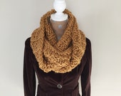 Chunky Knit Scarf/Double Loop Cowl/Infinity Scarf. Mustard.