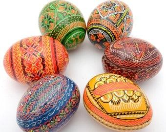 Set of 6 Wooden Ukrainian Pysanky Pysanka Easter Painted Eggs. Polish Pisankі. Czech Kraslice. (art. 2029)