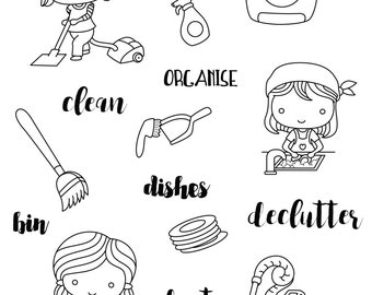 Housework / cleaning clear stamp set - decorative planner stamps suitable for any planner