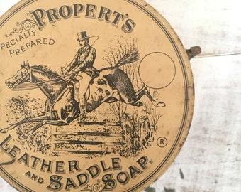 Vintage Propert's Saddle Soap Horse Equestrian Tin