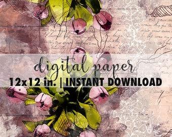 12x12 digital paper, premade scrapbook pages, 12x12 art print, scrapbook vintage floral paper, scrapbook background download, flowers tulips