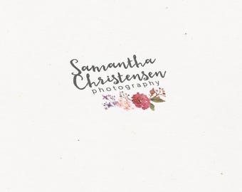 Premade photography logo design. Flower logo watermark. Floral design