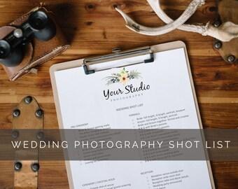 Printable Wedding Photography Shot List For Photographers