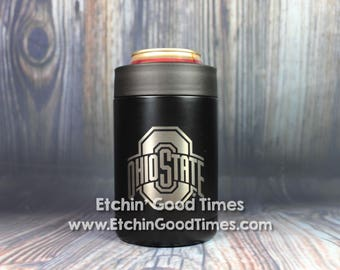 Ohio State Polar Camel Can Bottle Cooler OFFICIALLY LICENSED Matte Black Vacuum Insulated Tumbler w/Clear Lid with Personalization