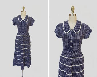 1930s Dust Bowl Dance Dress { S } Vintage 1930s Swiss Dot Dress >> 30s Peter Pan Collar Dress