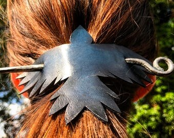 Forged Hair Pin Blue Leather Raven