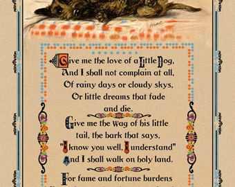 """Wonderful Vintage Dog Motto ,"""" Give Me the Love of a Little Dog"""", Lucy Dawson, Mac, Scotty Dog,Poem,Quote,Giclee Dog Art Print,8x12, 1930's"""