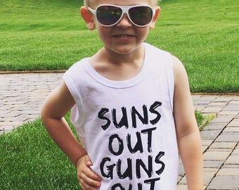 Suns out guns out tank top, summer boys tank top, boys summer clothes, tank shirt, suns out tank, boys clothes