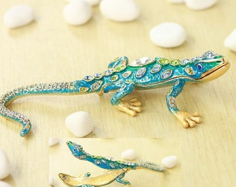 Unique Cute Lizard jewelry box,present,ring case,Interior Gift,Reptiles,With a beautiful gift box