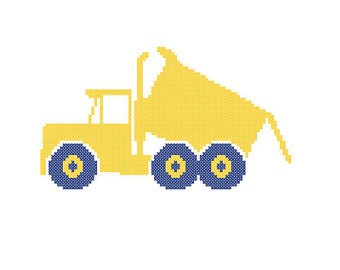 Dump Truck cross stitch pattern nursery transport heavy vehicle yellow navy wall art Instant Download baby boy