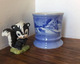 Shaving Mug, Currier & Ives, The Homestead In Winter, Ceramic Mug, Shave Cup, Blue Shave Mug, Vintage Beauty