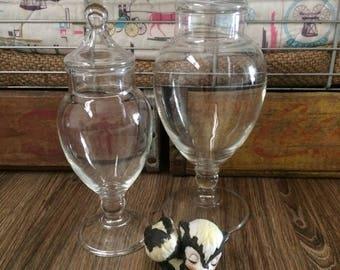 Pedestal Apothecary Jars, Glass Display Jar, Candy Bar Jars, Glass Decor
