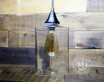 Upcycled Whiskey Bottle Pendant Lamp
