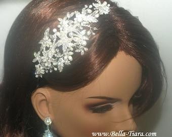 ivory pearl crystal wedding side headband, pearl vine side headpiece, silver bridal headband, bridal headpiece with pearls and rhinestone