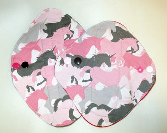 "SALE RTS Camo Unicorn Set Liner and Reg Flow Pad set Pink Camo Tween Teen Petite 7"" 8"" Cloth Mama Pad Momma Moma Pad"