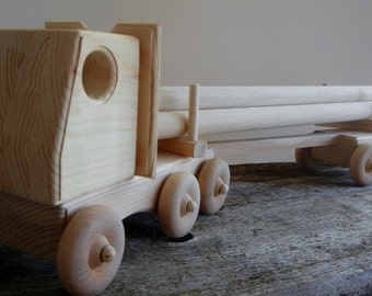 Toy Logging Truck with Logs- Detachable Trailer-Handmade Wood- Eco Friendly-Natural