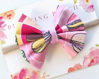Large Macaroon Bow Headband - Baby Headband -  Fabric Bows - Baby Bows - Handmade Bows - Baby Shower Gift - Toddler - Infant - Newborn