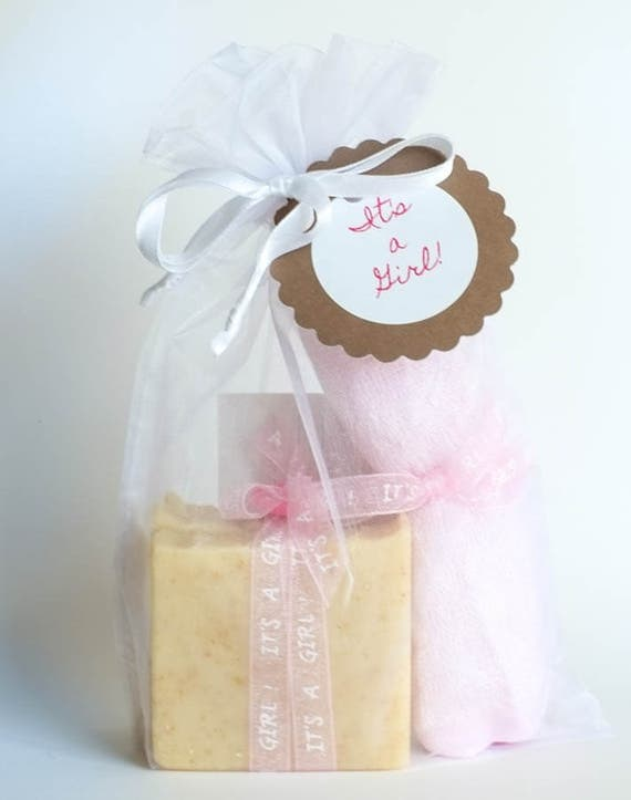 BABY GIRL Chamomile & Oatmeal Soap w/ Pink Bamboo Washcloth | Ribbon Wrapped, Button Topped Soap in White Organza Bag