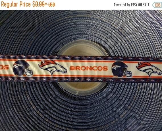 """SUPER SALE DENVER Broncos Nfl [2] 7/8"""" 22mm Grosgrain Hair Bow Craft Ribbon 782982"""