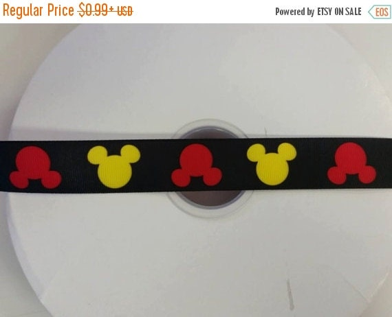 """SUPER SALE MOUSE Silhouette Inspired 1"""" 25mm Grosgrain Hair Bow Craft Ribbon 12195"""