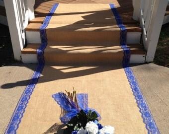 40 Ft Burlap and Lace Aisle Runner - ROYAL BLUE Lace; Rustic Wedding, Country Wedding, Barn Wedding, Outdoor/Farm Wedding, Beach Wedding