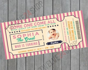 Circus Birthday Invitation - Circus Invitation - Circus Ticket Invitation - Carnival Invitation - Admit One Ticket