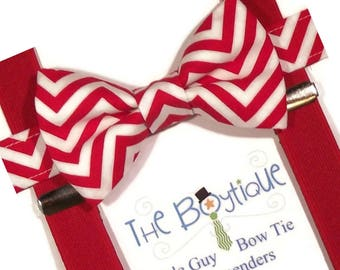 Red Chevron Bow Tie, Red Suspenders, Toddler Suspenders, Adult. Mens, Kids, Boys, Baby,  Apple, Cranberry, Ring Bearer Gift, cake Smash