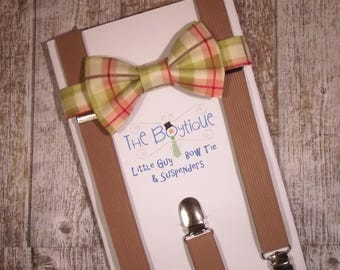Coral and Wasabi Plaid Bow Tie, Coffee Suspenders, Men's Suspenders, Adult, Boys, Kids, Toddler, Ring Bearer Gift, Cake Smash, Braces, Green