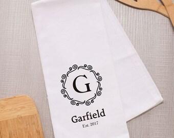Personalized Tea Towel, Monogram Kitchen Towel