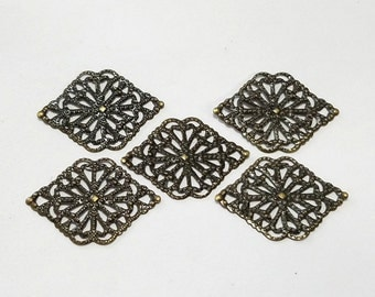 Antique Brass, Bronze, Filigree, Stamping, Earring, Ring, Lot, Steampunk, Mixed Media, Jewelry, Beading, Supplies