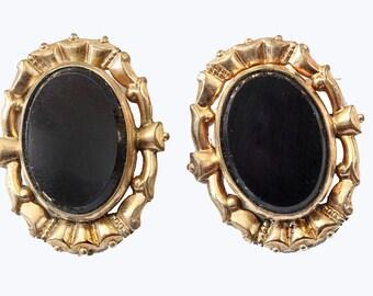 Vtg Earrings Screwback 1/20 12K Gold Filled Onyx Marked CM Unidentified
