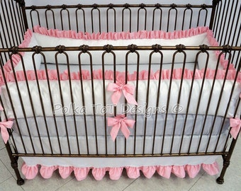 Custom Crib Bedding White Linen  Choose your Accent Color  (ZIPPERED bumpers) Baby Bedding -ERIN