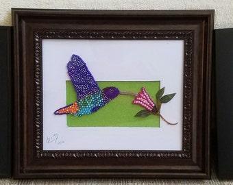 Hummingbird -  Handmade Seed Beaded Picture