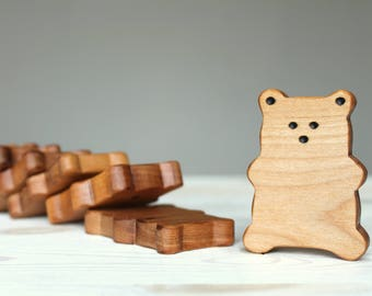 Wooden dominos, DOMINOURS*, bear, wooden toys, learning game, preschool