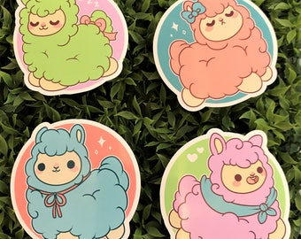 PACK OF 4 Kawaii Alpaca Nugget Stickers ( cute chibi stickers alpacas )