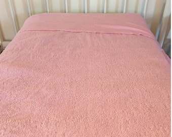 Vintage Pink Chenille Twin Bedspread with Fringe Throw Cottage Country Decor