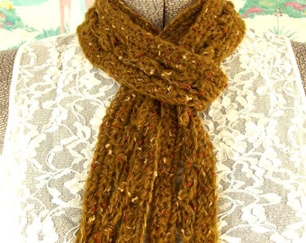 Skinny Scarf Crochet Leaf Motif Gold Brown Amber Rust Metallic Lightweight Neck Wrap