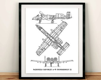 Jet aircraft etsy a 10 thunderbolt blueprint aircraft blueprint blueprint decor a 10 jet malvernweather Images