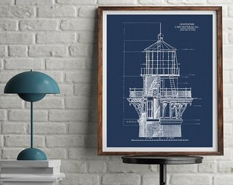 "Lighthouse Blueprint, Blueprint Art, Download, Nautical Decor, Blueprints, Printable Art, Blue Print, Lighthouse Decor, 8x10, 11x14"", 16x20"""
