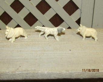 Vintage Miniature Teeny Carved Dog Figurines Pointer Collie Shepherd Dogs Micro Miniature Lot