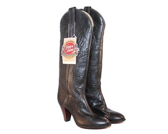 New Vintage 1980s Tony Lama Boots Size 4 - Women's Black Tony Lama Boots - Women's Black Cowboy Boots Heels - Tall Black Cowboy Boots