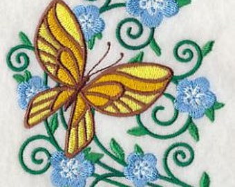 PAIR hand towels - burst of spring butterfly 2 -  15 x 25 inch for kitchen / bathroom MORE COLORS