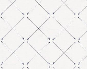 Navy Cross Arrow Organic Fabric - By The Yard - Gender Neutral / Boy / Girl